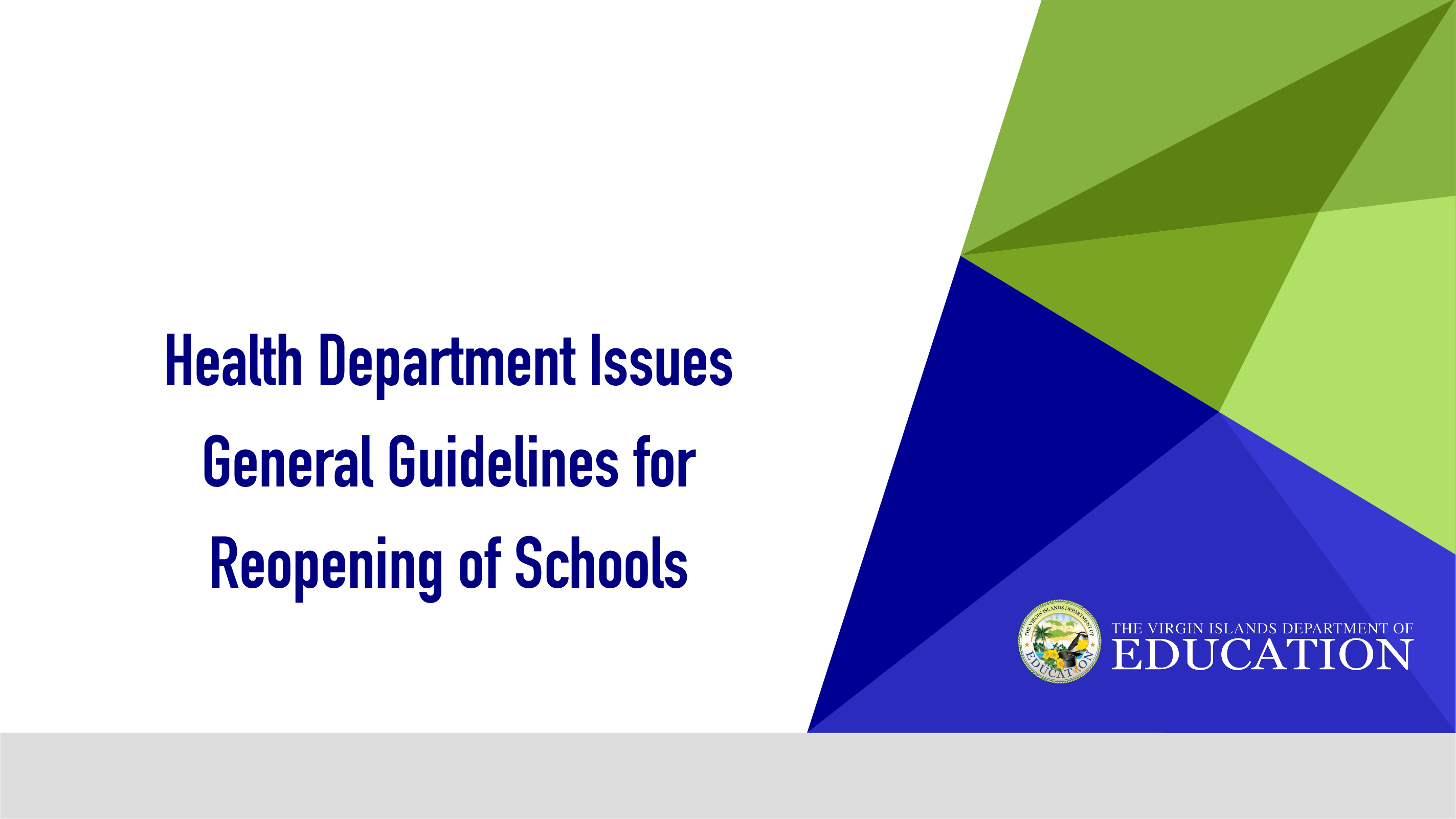 Health Department Issues General Guidelines for Reopening of Schools 2020-2021