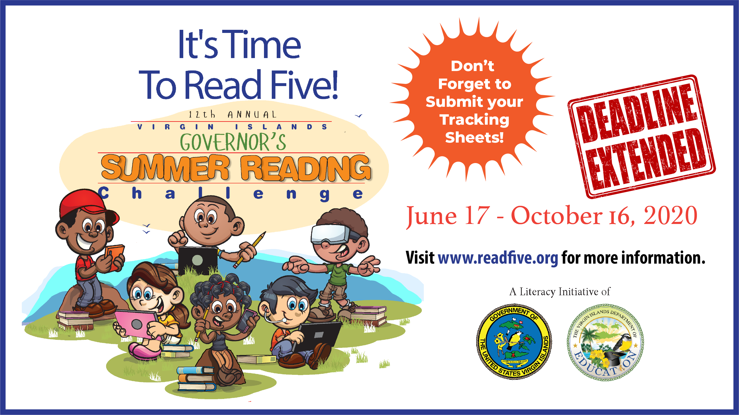 Submit your tracking sheets for the V.I. Governor's Summer Reading Challenge!